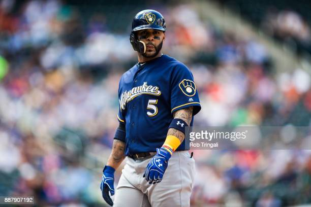 Jonathan Villar of the Milwaukee Brewers looks on during the game against the New York Mets at Citi Field on Thursday June 1 2017 in the Queens...