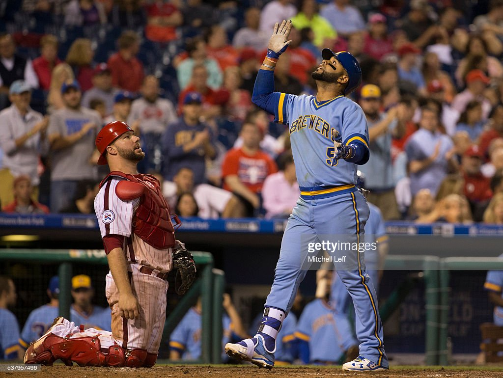 Jonathan Villar #5 of the Milwaukee Brewers reacts in front of Cameron Rupp #29 of the Philadelphia Phillies after hitting a solo home run in the top of the seventh inning at Citizens Bank Park on June 3, 2016 in Philadelphia, Pennsylvania. The Phillies defeated the Brewers 6-3.