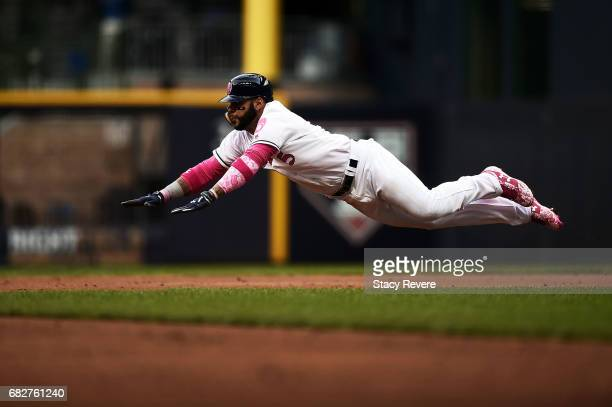 Jonathan Villar of the Milwaukee Brewers steals second base during the second inning of a game against the New York Mets at Miller Park on May 13...