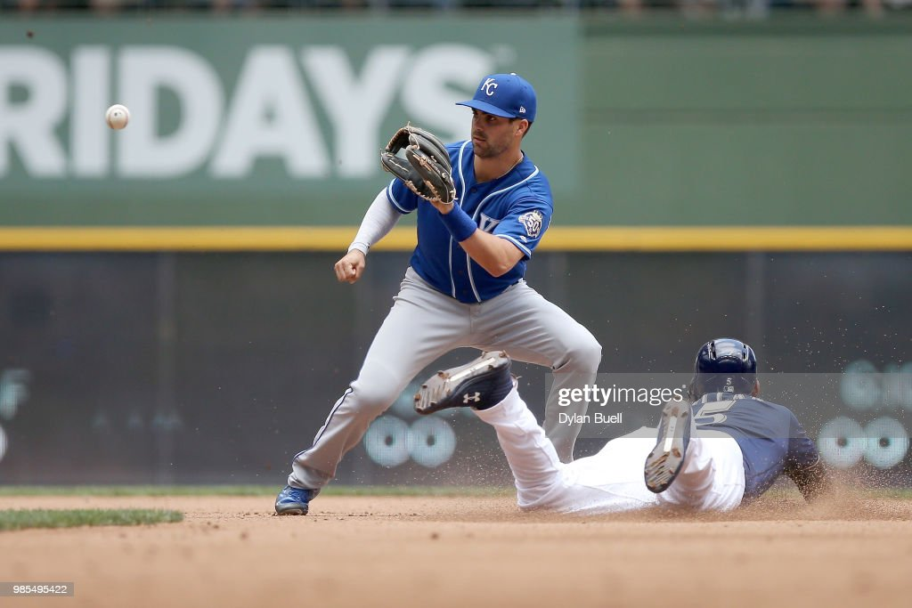 Jonathan Villar #5 of the Milwaukee Brewers steals second base past Whit Merrifield #15 of the Kansas City Royals in the fifth inning at Miller Park on June 27, 2018 in Milwaukee, Wisconsin.
