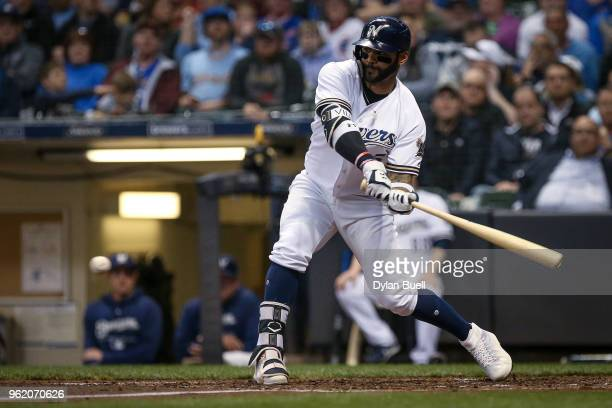 Jonathan Villar of the Milwaukee Brewers strikes out in the fifth inning against the Arizona Diamondbacks at Miller Park on May 22 2018 in Milwaukee...