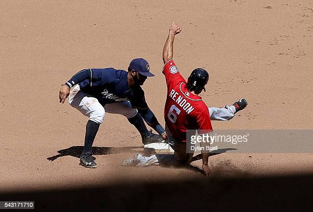 Jonathan Villar of the Milwaukee Brewers tags out Anthony Rendon of the Washington Nationals during a steal attempt in the sixth inning at Miller...