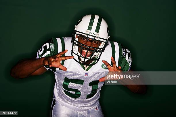 Jonathan Vilma of the New York Jets poses for a photo shoot on November 7 2005 at the Jets training facility at Hofstra University in Hempstead New...