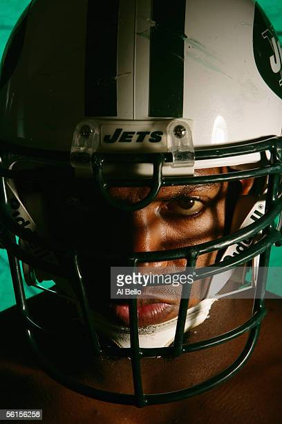 Jonathan Vilma of the New York Jets poses for a photo shoot on November 7 2005 at the Jets training facilityat Hofstra University in Hempstead New...