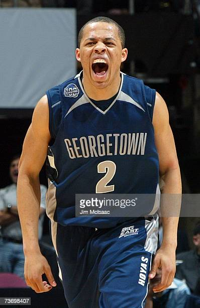 Jonathan Wallace of th Georgetown Hoyas reacts after hitting a three pointer against the University of North Carolina Tar Heels in the NCAA Men's...