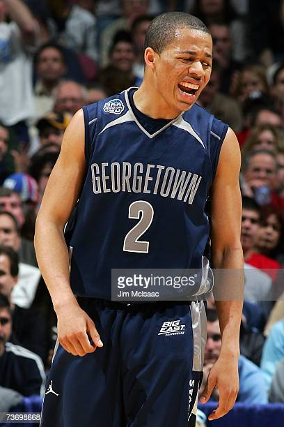 Jonathan Wallace of th Georgetown Hoyas reacts to a play against the University of North Carolina Tar Heels in the NCAA Men's East Regional Final at...
