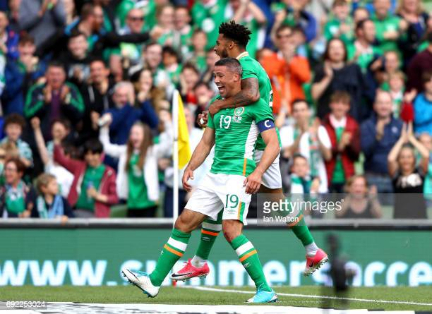 Jonathan Walters of Republic of Ireland celebrates scoring the opening goal with Cyrus Christie during the International Friendly match between...