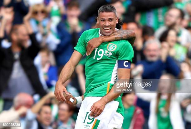 Jonathan Walters of Republic of Ireland celebrates scoring the opening goal during the International Friendly match between Republic of Ireland and...