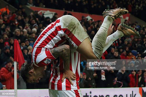 Jonathan Walters of Stoke City celebrates after scoring a goal to make it 10 with Joselu during the Barclays Premier League match between Stoke City...