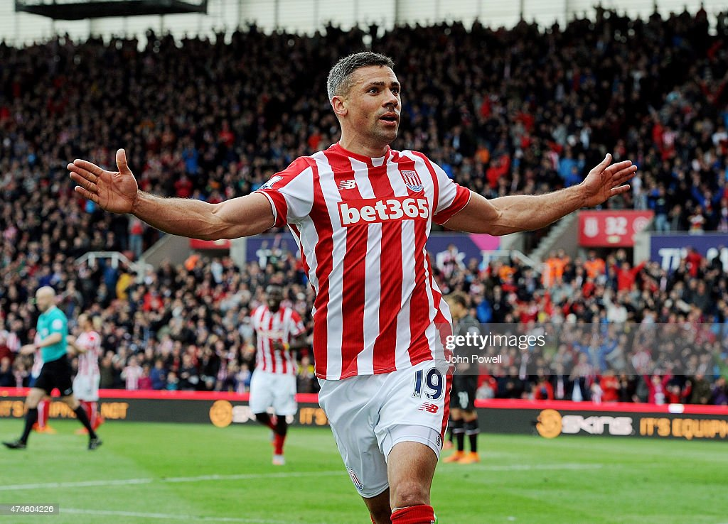 Jonathan Walters of Stoke City celebrates after scoring during the Barclays Premier League match between Stoke City and Liverpool at the Britannia Stadium on May 24, 2015 in Stoke on Trent, England.