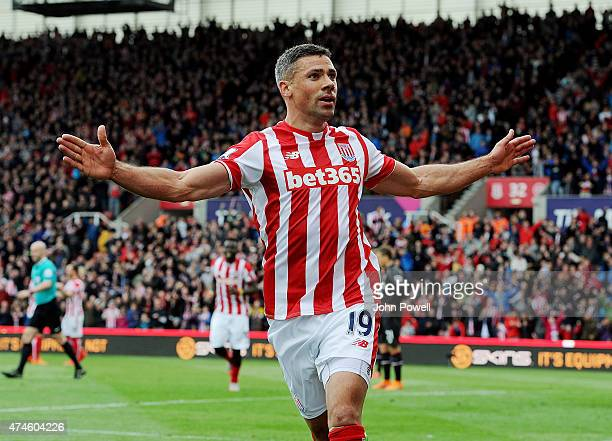 Jonathan Walters of Stoke City celebrates after scoring during the Barclays Premier League match between Stoke City and Liverpool at the Britannia...