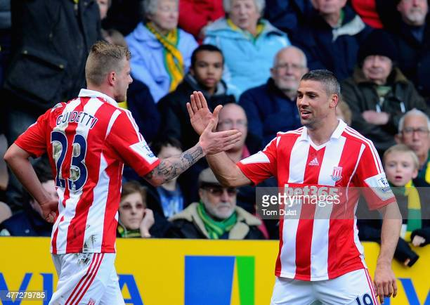 Jonathan Walters of Stoke City celebrates his goal with John Guidetti during the Barclays Premier League match between Norwich City and Stoke City at...