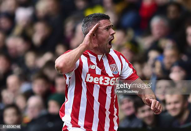 Jonathan Walters of Stoke City celebrates scoring his team's first goal during the Barclays Premier League match between Watford and Stoke City at...