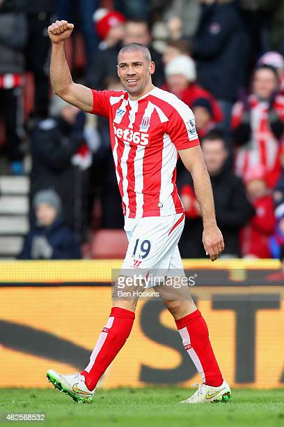 Jonathan Walters of Stoke City celebrates scoring their second goal during the Barclays Premier League match between Stoke City and Queens Park...
