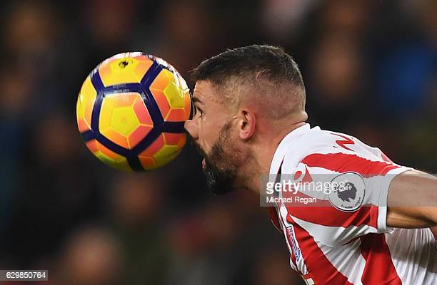 Jonathan Walters of Stoke City controls the ball with his nose during the Premier League match between Stoke City and Southampton at Bet365 Stadium...