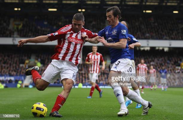 Jonathan Walters of Stoke City moves away from a challenge by Leighton Baines of Everton during the Barclays Premier League match between Everton and...