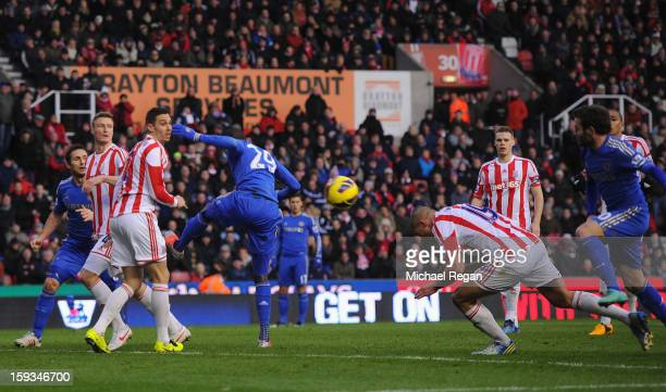 Jonathan Walters of Stoke City scores an own goal to make the score 01 during the Barclays Premier League match between Stoke City and Chelsea at the...