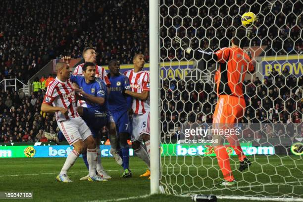 Jonathan Walters of Stoke City scores his second own goal to make the score 02 during the Barclays Premier League match between Stoke City and...