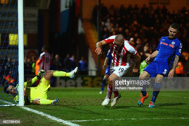 Jonathan Walters of Stoke City turns to celebrate after scoring their fourth goal during the FA Cup fourth round match between Rochdale and Stoke...