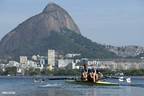Jonathan Walton and John Collins of Great Britain compete during the Men's Double Sculls Heat 1 on Day 1 of the Rio 2016 Olympic Games at the Lagoa...