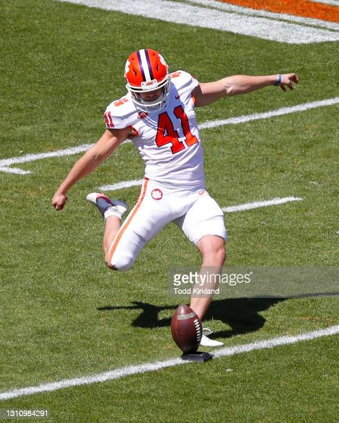 Jonathan Weitz of the Clemson Tigers kicks off during the Clemson Orange and White Spring Game at Memorial Stadium on April 3, 2021 in Clemson, South...
