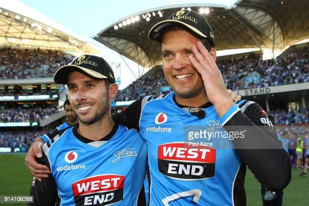 Jonathan Wells and Alex Carey of the Strikers look son after winning the Big Bash League Final match between the Adelaide Strikers and the Hobart...