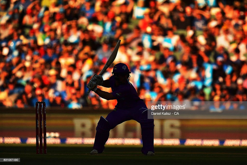 Jonathan Wells of the Hobart Hurricanes bats during the Big Bash League match between the Adelaide Strikers and the Hobart Hurricanes at Adelaide Oval on January 6, 2017 in Adelaide, Australia.