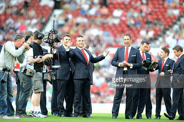Jonathan Wilkes, Robbie Williams, David Seaman and Mark Owen attend Soccer Aid 2012 in aid of Unicef at Old Trafford on May 27, 2012 in Manchester,...