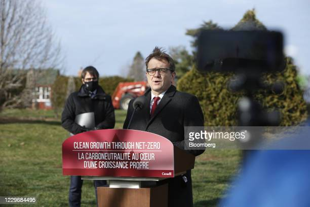 Jonathan Wilkinson, Canada's environment and climate change minister, speaks during a news conference at the Ornamental Gardens in Ottawa, Ontario,...