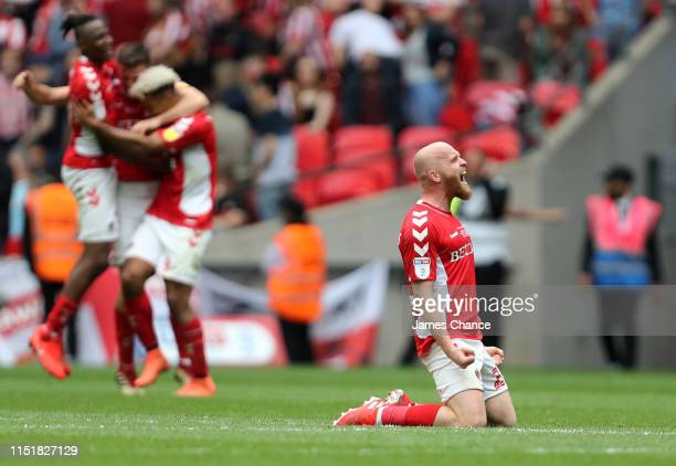 Jonathan Williams of Charlton Athletic celebrates at the final whistle during the Sky Bet League One Playoff Final match between Charlton Athletic...