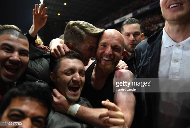 Jonathan Williams of Charlton Athletic celebrates victory in the penalty shoot out with fans after the Sky Bet League One PlayOff Second Leg match...