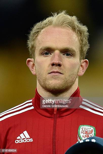 Jonathan Williams of Wales looks on as the national anthems are played prior to kickoff during the International Friendly match between Ukraine and...