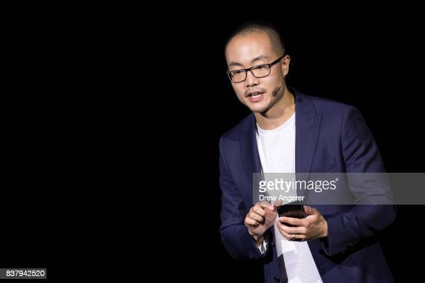 Jonathan Wong director of product marketing at Samsung speaks about the during new Samsung Galaxy Note8 smartphone during a launch event for the...