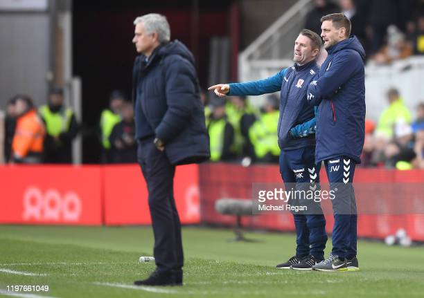 Jonathan Woodgate, Manager of Middlesbrough and assistant Robbie Keane look on during the FA Cup Third Round match between Middlesbrough and...
