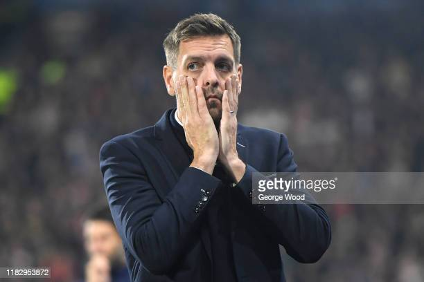 Jonathan Woodgate manager of Middlesbrough reacts during the Sky Bet Championship match between Huddersfield Town and Middlesbrough at John Smith's...