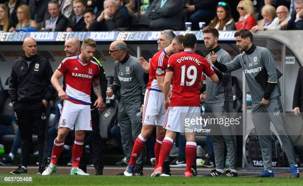 Jonathan Woodgate Middlesbrough first team coach gives his team instructions during the Premier League match between Swansea City and Middlesbrough...