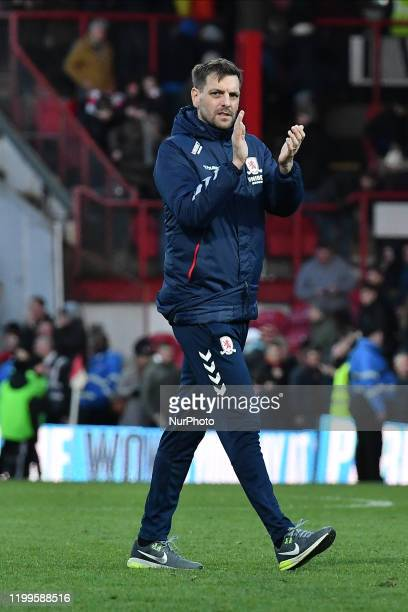 Jonathan Woodgate of Middlesbrough applauds fans after the Sky Bet Championship match between Brentford and Middlesbrough at Griffin Park on February...