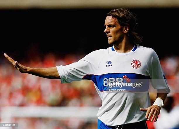 Jonathan Woodgate of Middlesbrough in action during the Barclays Premiership match between Arsenal and Middlesbrough at The Emirates Stadium on...
