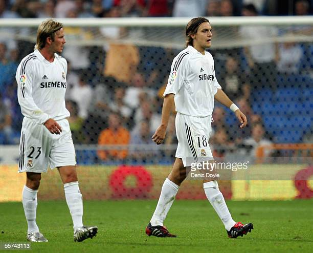 Jonathan Woodgate of Real Madrid walks off after being sent off during the Primera Liga soccer match between Reral Madrid and Athletic Bilbao at the...