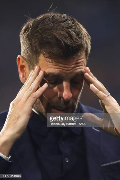 Jonathan Woodgate the head coach / manager of Middlesbrough reacts during the Sky Bet Championship match between Huddersfield Town and Middlesbrough...