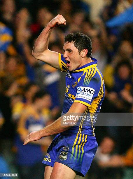 Jonathan Wright of the Eels celebrates after scoring a try during the first NRL semi final match between the Parramatta Eels and the Gold Coast...