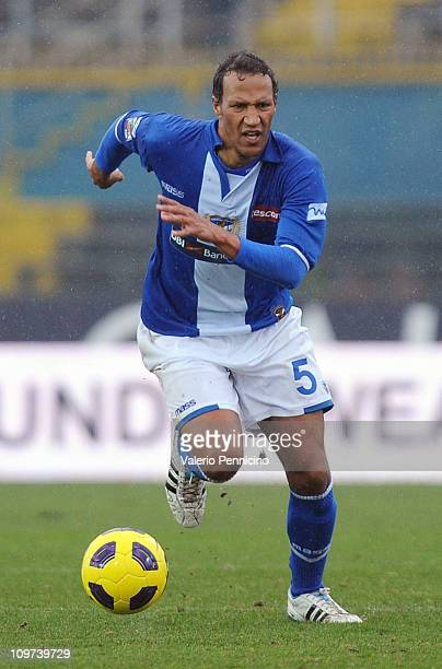 Jonathan Zebina of Brescia Calcio in action during the Serie A match between Brescia Calcio and Lecce at Mario Rigamonti Stadium on February 27 2011...
