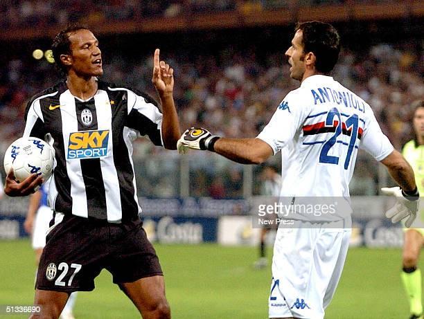Jonathan Zebina of Juventus and GFrancesco Antonioli of Sampdoria exchange words during the Serie A match at Marassi Stadium September 22 2004 in...