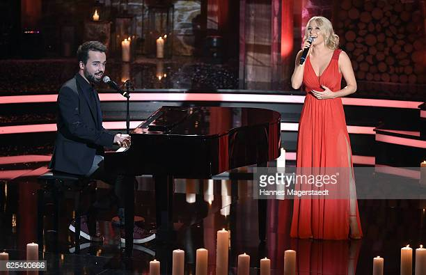 Jonathan Zelter and Julia Lindholm during the tv show 'Heiligabend mit Carmen Nebel' on November 23 2016 in Munich Germany The show will be aired on...