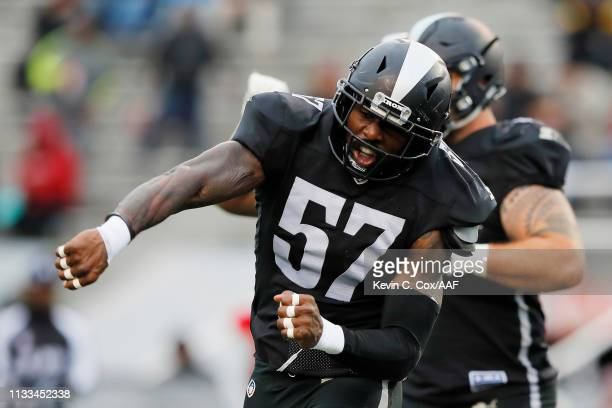 Jonathan Massaquoi of the Birmingham Iron celebrates after a defensive stop during the first half against the San Antonio Commanders in an Alliance...