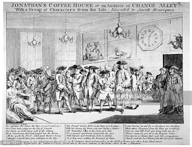 Jonathan's Coffee House London 1763 'Jonathan's Coffee House or an analysis of Change Alley with a group of characters from the life' Foreigners...