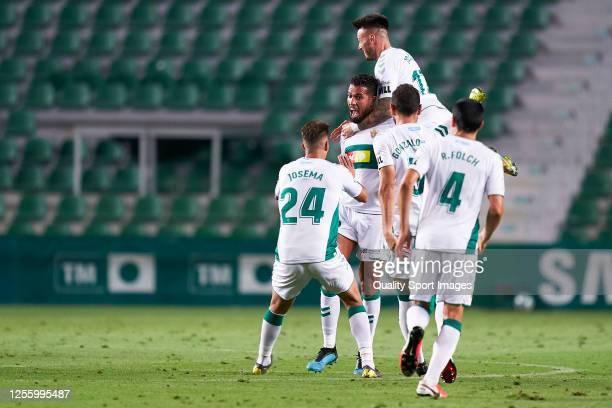Jonathas Cristian de Jesus of Elche CF celebrates after scoring his team's first goal during the La Liga Smartbank match between Elche CF and...