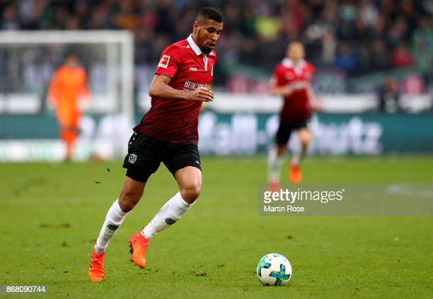 Jonathas de Jesus of Hannover runs with the ball during the Bundesliga match between Hannover 96 and Borussia Dortmund at HDIArena on October 28 2017...