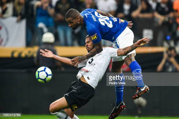 Jonathas of Corinthians and Dede of Cruzeiro battle for the ball during a match between Corinthians and Cruzeiro as part of Copa do Brasil 2018...