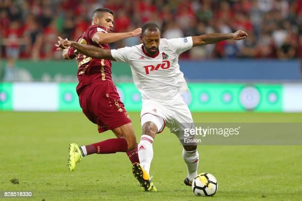 Jonathas of FC Rubin Kazan vies for the ball with Manuel Fernandes FC Lokomotiv Moscow during the Russian Premier League match between FC Rubin Kazan...